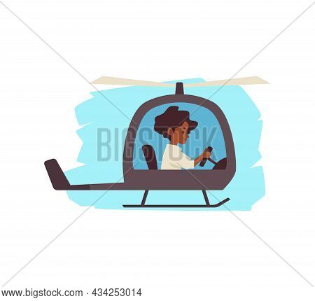 Happy Child Flying Helicopter, Flat Cartoon Vector Illustration Isolated.