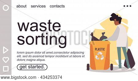 Waste Sorting And Plastic Recycling Website Banner Flat Vector Illustration.