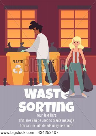 Waste Sorting And Garbage Utilization Banner Layout Flat Vector Illustration.