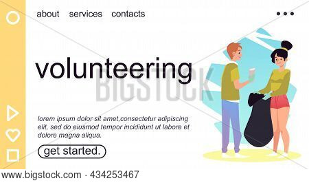 Volunteering Web Banner With Ecologists Collect Garbage, Vector Illustration.