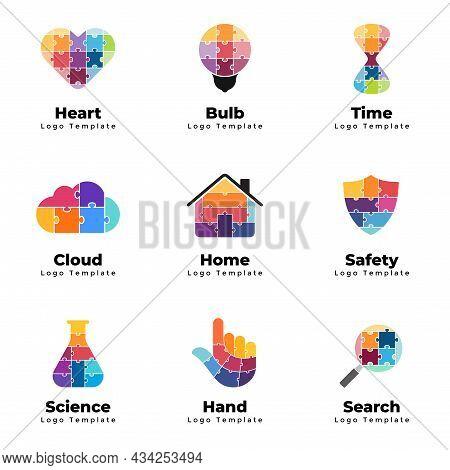Puzzle Vector Logo Templates Set. Heart Medical Sign. Hourglass Time Concept. Light Bulb Idea. Inter
