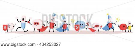 Cartoon Pills And Medications Characters Set, Flat Vector Illustration Isolated.