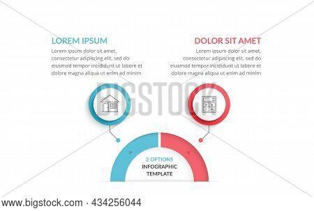 Infographic Template With 2 Steps Or Options With Place For Your Icons And Text, Workflow, Process C