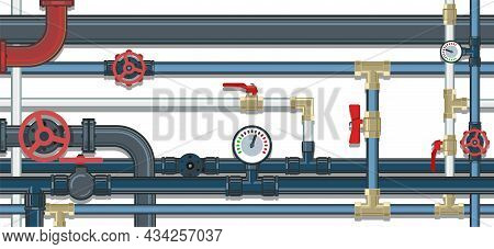 Pipeline. Water Fittings. Various Purposes. Pressure Gauge For Measurement. Supply Pipeline Cock. Il