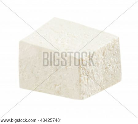 Feta Cheese Isolated On White Background. Greek Soft Salty Cheese