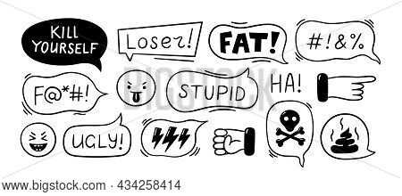Speech Bubble With Swear Words. Cyber Bullying, Trolling, Conflict And Violence Situation. Bad Revie