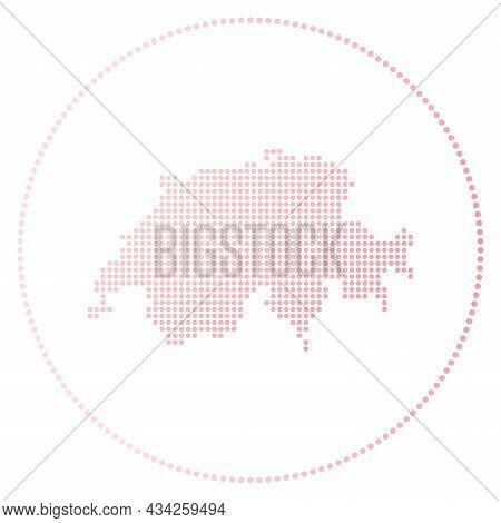 Switzerland Digital Badge. Dotted Style Map Of Switzerland In Circle. Tech Icon Of The Country With