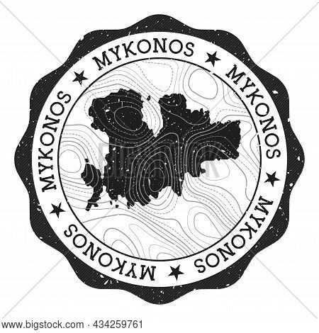Mykonos Outdoor Stamp. Round Sticker With Map Of Island With Topographic Isolines. Vector Illustrati