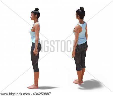3d Illustration Of Back Three-quarters And Left Profile Poses Of A 3d Woman In Yoga Mountain Pose Wi
