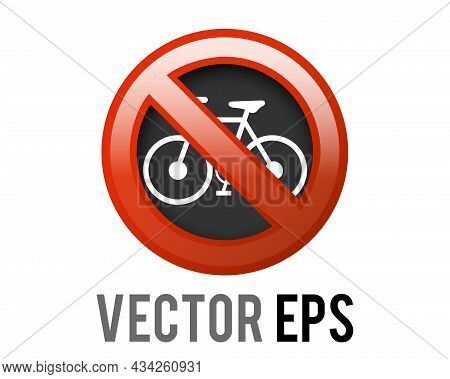 The Isolated Vector Red Circle Restricted Icon With Bicycle And Red Stroke, Indicating Bikes Are Pro