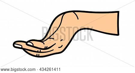 Outstretched Hand. For Use On Textiles, Packaging Paper, Souvenirs, Printing, Posters, Postcards. Ve