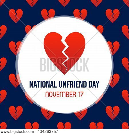 National Unfriend Day Social Media Card, Illustration With Red Broken Heart And Seamless Pattern Bac