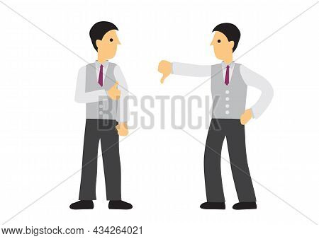 Two Businesspeople Showing Thumb Up And Thumb Down Sign. Vector Illustration