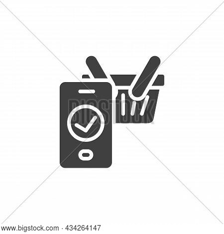 E-commerce, Checkout Vector Icon. Filled Flat Sign For Mobile Concept And Web Design. Shopping Baske