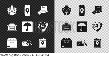 Set Cardboard Box With Traffic Symbol, Mobile App Delivery Tracking, Delivery Hand Boxes, Carton Car
