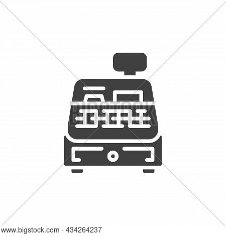 Cash Register Machine Vector Icon. Filled Flat Sign For Mobile Concept And Web Design. Shopping Cash