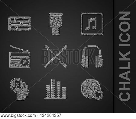 Set Drum Sticks, Music Equalizer, Vinyl Disk, Headphones, Musical Note Human Head, Radio With Antenn