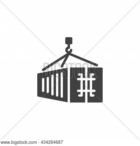 Cargo Container Loading Vector Icon. Filled Flat Sign For Mobile Concept And Web Design. Shipping Co