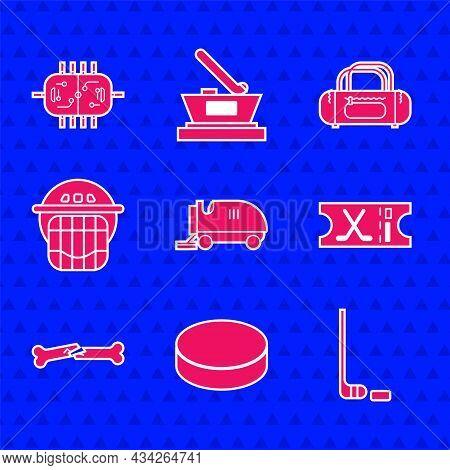 Set Ice Resurfacer, Hockey Puck, Hockey Stick And, Sports Ticket, Human Broken Bone, Helmet, Sport B