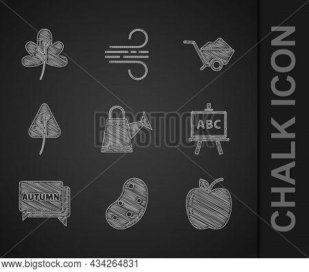 Set Watering Can, Potato, Apple, Chalkboard, Speech Bubble With Text Autumn, Leaf Or Leaves, Wheelba