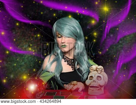 Psychic With Green Hair Crystal Ball And Tarot Cards. Fortune Teller