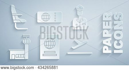 Set Passport, Pilot, Airport Control Tower, Plane Takeoff, Airline Ticket And Airplane Seat Icon. Ve