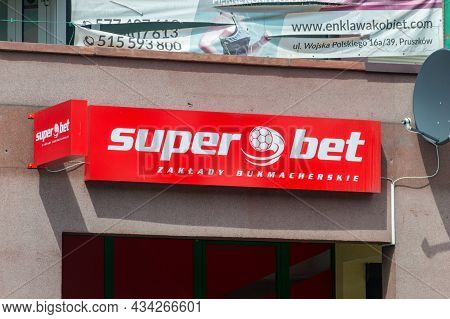 Pruszkow, Poland - June 15, 2021: Logo Of Super Bet. Super Bet Is Betting Company Where Gamers Can B