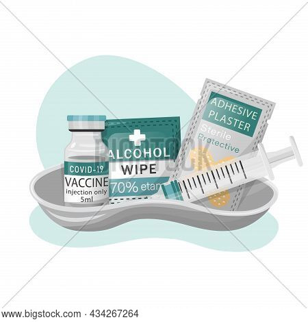 Vaccination Medical Kit. Vaccination And Immuvization Concept. Syringe, Vaccine Bottle Or Antiviral