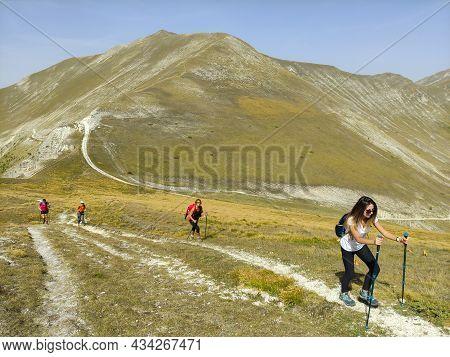 Passo Cattivo, Italy - September 25, 2021: Panoramic View Of Passo Cattivo And The Peak Of Monte Bov