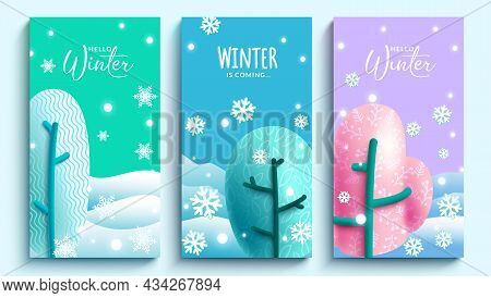 Winter Vector Poster Set. Hello Winter Text In Colorful Background With Cute Doodle Shape Trees Elem