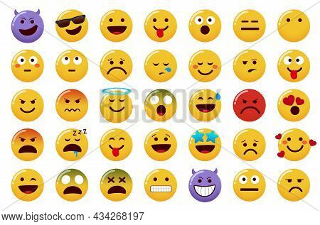 Emoticon Emojis Vector Set. Emoticons Character Isolated In White Background With Smiling, Evil, Ang