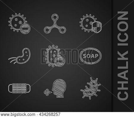 Set Negative Virus, Man Coughing, Virus, Bar Of Soap, Medical Protective Mask, Shield Protecting Fro
