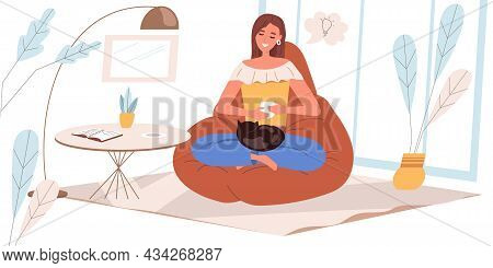 Dreaming People Concept In Flat Design. Happy Woman Are Sitting, Dreaming, Drinking Coffee At Home.