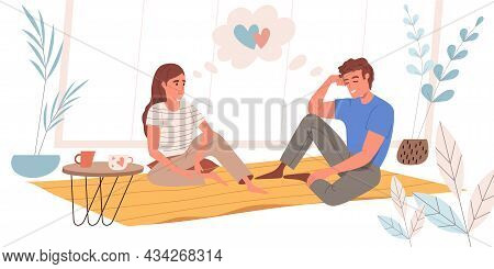 Dreaming People Concept In Flat Design. Happy Couple Are Sitting At Carpet, Dreaming And Enjoys Rest