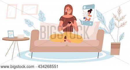 Browse Social Network Concept In Flat Design. Happy Woman Uses Smartphone, Looks At Friends Photos,