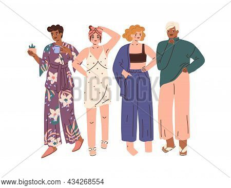 Women Wearing Comfortable Home Clothes, Pajamas And Nightgown. Modern Fashion Comfy Outfits. Relaxed