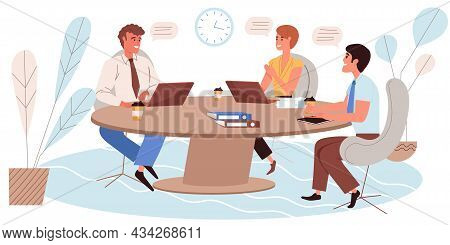 Business Meeting Concept In Flat Design. Employees Talk And Discuss Tasks, Sitting At Table, Brainst