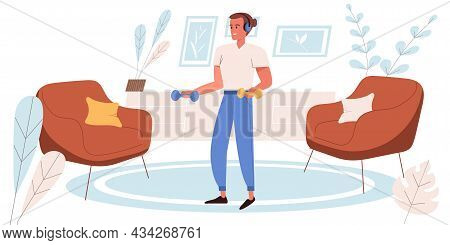 Fitness At Home Concept In Flat Design. Happy Man Doing Exercises With Dumbbells In Living Room. Ath