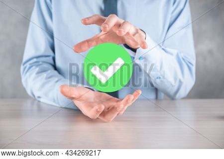 Hand Holds Green Icon Check Mark,check Mark Sign, Tick Icon,right Sign,circle Green Checkmark Button
