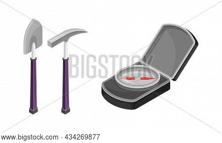Mining Geological Industry Tools Set. Shovel And Pickaxe Vector Illustration