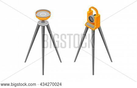 Professional Lasers Level On Tripod Set. Geological Industry Devices Vector Illustration