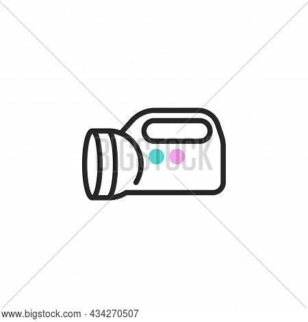 Battery Flashlight Line Icon. Linear Style Sign For Mobile Concept And Web Design. Flashlight Outlin