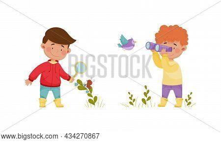 Cute Kids Exploring Birds In Forest Or Park Set. Nature Lovers Watching Birds Through Magnifying Gla