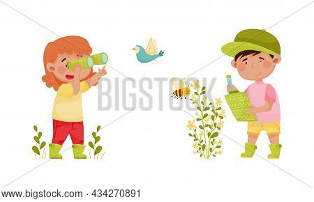 Cute Kids Exploring Birds And Insects In Forest Or Park Set. Nature Lovers Looking Through Binocular