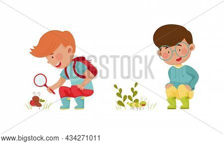 Cute Boys Exploring Insects In Forest Or Park Set Cartoon Vector Illustration