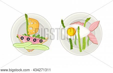 Creative Meal Dishes For Kids Served On Plates Set. Serving Ideas For Healthy Breakfast Cartoon Vect