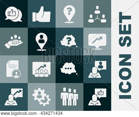 Set Hand Like, Head Hunting, Graph, Schedule, Chart, Question Mark, Worker Location, For Search Peop