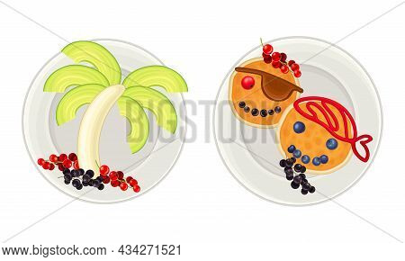 Creative Meal Dishes For Kids Served On Plates Set. Serving Ideas For Healthy Breakfast With Fruit A