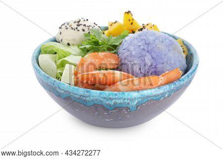 Fresh Delicious Poke Bowl On White Background