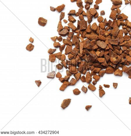 Pile Of Chicory Granules Isolated On White, Top View